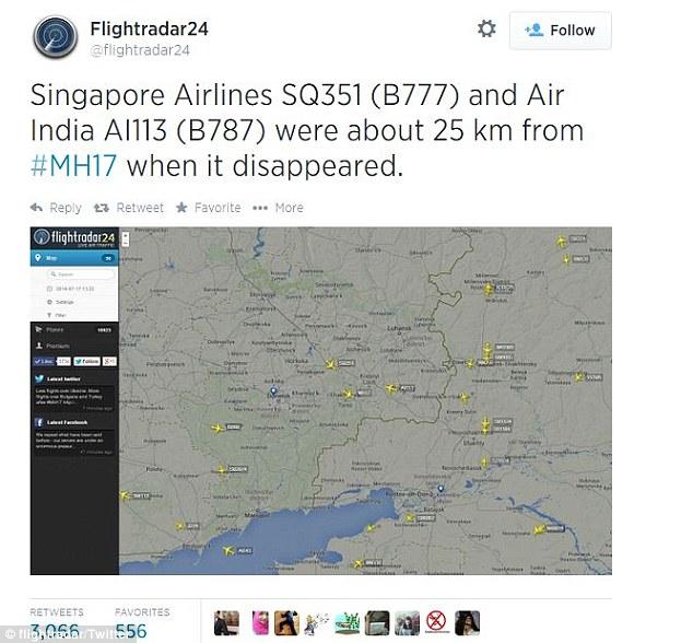 SIA flight Path over Ukraine